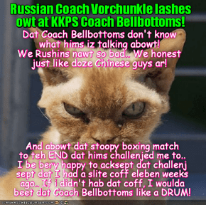 RIO LOLYMPICS NEWS FLASH: Russian Coach Boris Vorchunkle responds to KKPS Coach Bellbottoms' forceful accusations against the Russian LoLymipcs Team!