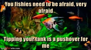 You fishies need to be afraid, very afraid  Tipping your tank is a pushover for me