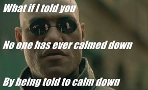 What if I told you  No one has ever calmed down By being told to calm down