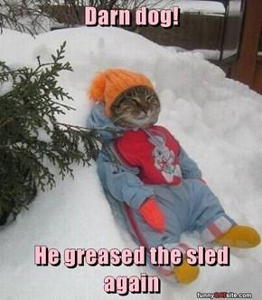 Darn dog!  He greased the sled again