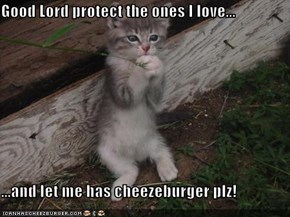 Good Lord protect the ones I love...  ...and let me has cheezeburger plz!