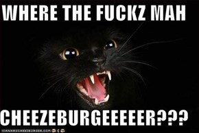 WHERE THE FUCKZ MAH  CHEEZEBURGEEEEER???