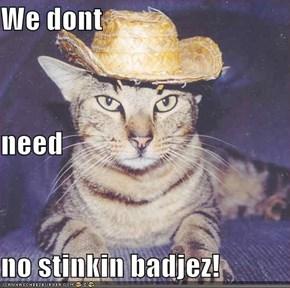 We dont need no stinkin badjez!