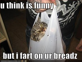 u think is funny  but i fart on ur breadz