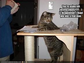 You're using teh instrucshuns???     i iz dizapointed.  i thaut you waz a real man.
