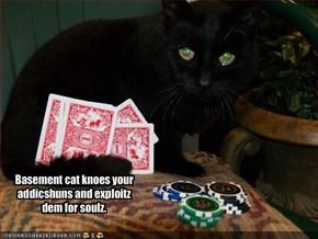 Basement cat knoes your addicshuns and exploitz dem for soulz.
