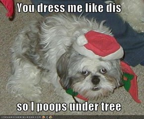 You dress me like dis  so I poops under tree