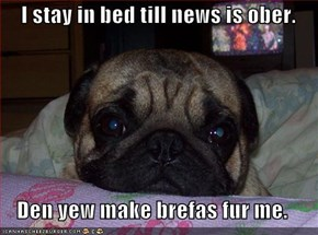 I stay in bed till news is ober.  Den yew make brefas fur me.