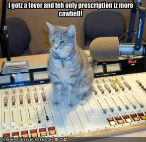 I gotz a fever and teh only prescription iz more cowbell!