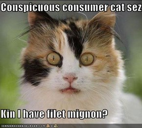 Conspicuous consumer cat sez  Kin I have filet mignon?