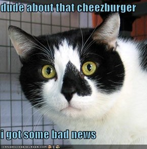 dude about that cheezburger  i got some bad news