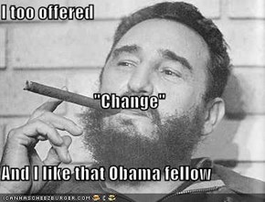 "I too offered ""Change"" And I like that Obama fellow"