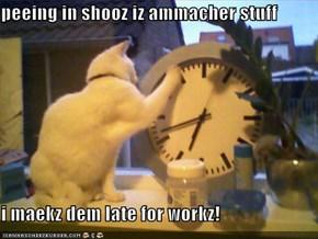 peeing in shooz iz ammacher stuff  i maekz dem late for workz!