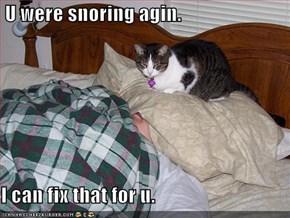 U were snoring agin.  I can fix that for u.
