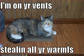 I'm on yr vents  stealin all yr warmfs
