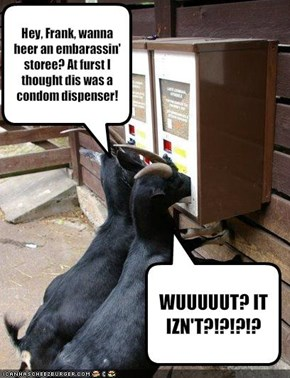 Hey, Frank, wanna heer an embarassin' storee? At furst I thought dis was a condom dispenser.