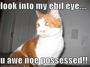 look into my ebil eye....  u awe noe possessed!!