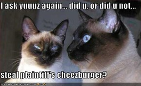 I ask yuuuz again... did u, or did u not...  steal plaintiff's cheezburger?