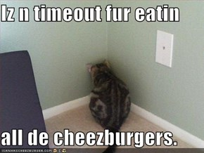 Iz n timeout fur eatin  all de cheezburgers.
