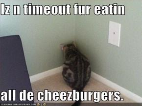 Iz n timeout fur eatin  all de cheezburgers.