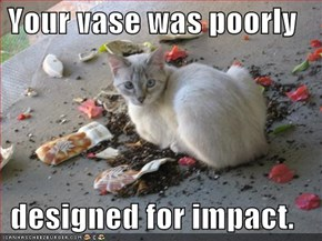 Your vase was poorly  designed for impact.