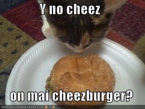 Y no cheez    on mai cheezburger?