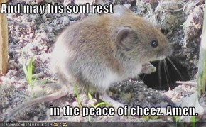 And may his soul rest  in the peace of cheez. Amen.