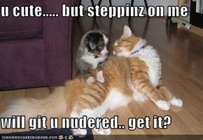 u cute..... but steppinz on me  will git u nudered.. get it?