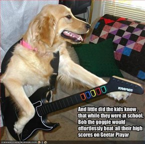 And little did the kids know , that while they were at school, Bob the goggie would effortlessly beat  all their high scores on Geetar Playar
