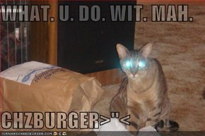 WHAT. U. DO. WIT. MAH.  CHZBURGER>''<