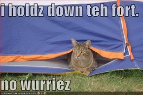 i holdz down teh fort.  no wurriez