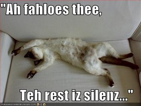 """Ah fahloes thee,  Teh rest iz silenz..."""