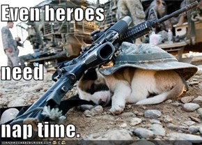 Even heroes need nap time.