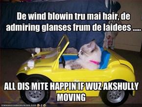 De wind blowin tru mai hair, de admiring glanses frum de laidees .....