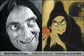 Marty Feldman as Igor Totally Looks Like The Evil Queen as the Witch