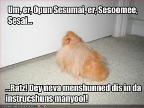Um, er, Opun Sesumai, er, Sesoomee, Sesai...