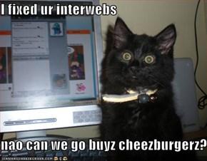 I fixed ur interwebs  nao can we go buyz cheezburgerz?