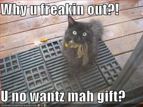Why u freakin out?!  U no wantz mah gift?