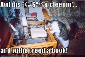Awl dis @#$%^& cleenin'...  ai'd ruther reed a book!