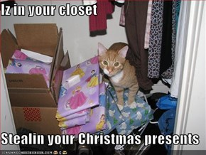 Iz in your closet  Stealin your Christmas presents
