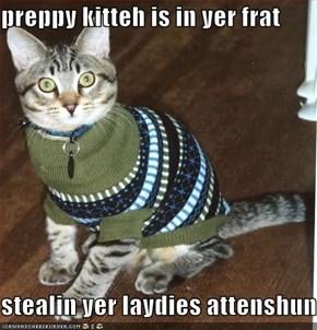 preppy kitteh is in yer frat  stealin yer laydies attenshun
