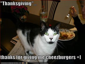 """Thanksgiving""...  thanks for giving me cheezburgers =]"