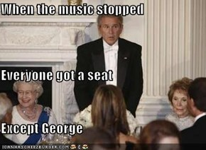 When the music stopped Everyone got a seat Except George