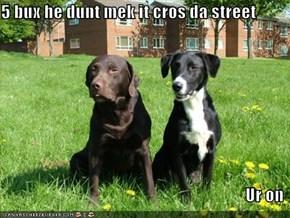 5 bux he dunt mek it cros da street  Ur on