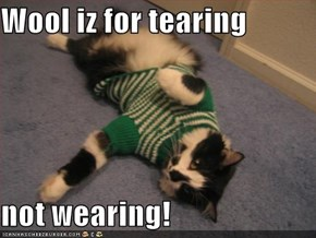 Wool iz for tearing  not wearing!