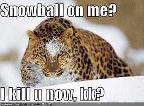 Snowball on me?   I kill u now, kk?