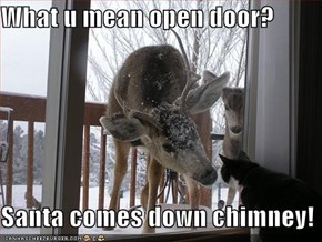 What u mean open door?  Santa comes down chimney!
