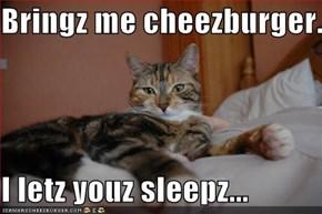 Bringz me cheezburger..  I letz youz sleepz...