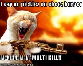 I say no picklez on cheez burger  M-M-M-M-M-MULTI KILL!!
