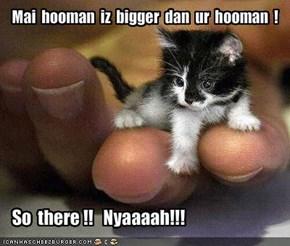 Mai  hooman  iz  bigger  dan  ur  hooman  !